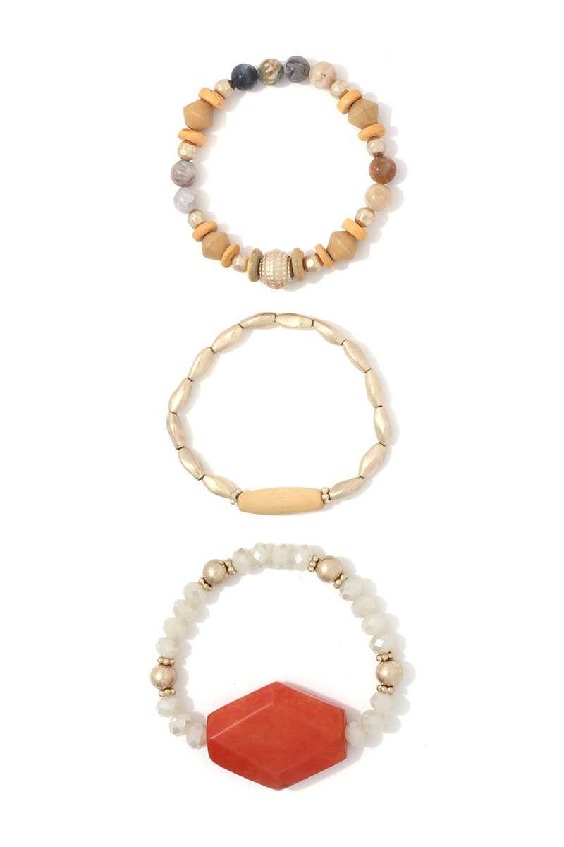 Natural Stone Beaded Stretch Bracelet Set - Miranda's Paparazzi Style