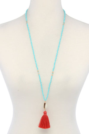 Cowrie Shell Tassel Beaded Necklace - Miranda's Paparazzi Style