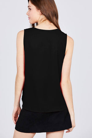 Sleeveless V-neck Woven Top - Miranda's Paparazzi Style