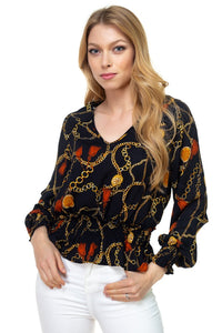 Long Sleeve Baroque & Chain Print Top - Miranda's Paparazzi Style