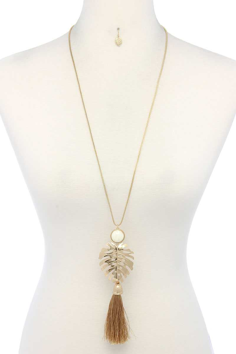 Tropical Leaf Pendant Tassel Necklace - Miranda's Paparazzi Style