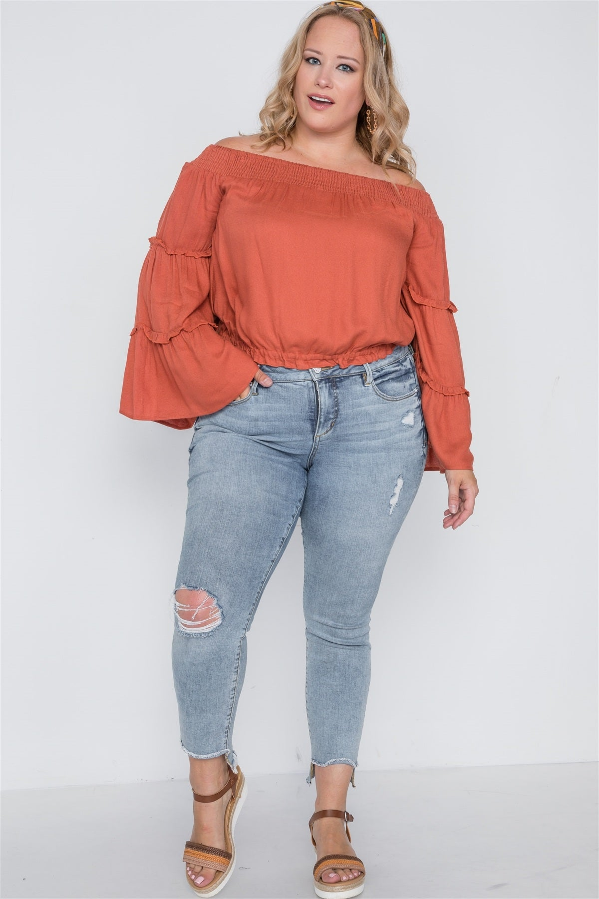 Plus Size Off-the-shoulders Bell Sleeve Top - Miranda's Paparazzi Style