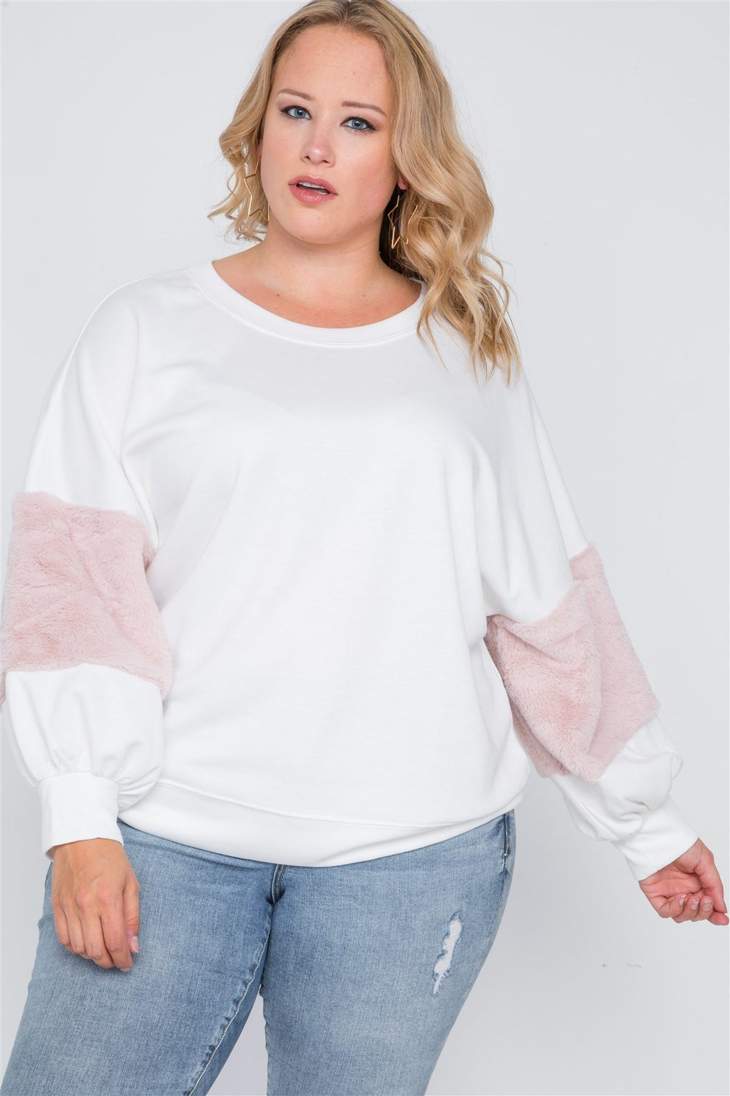 Plus Size Faux Fur Pink Sleeves Sweater - Miranda's Paparazzi Style
