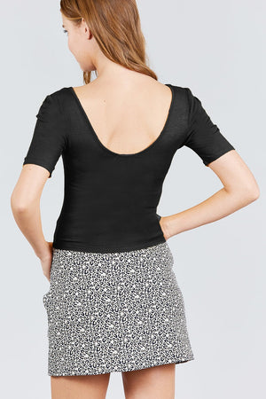 Elbow Sleeve V-neck W/shirring Rayon Spandex Rib Knit Top - Miranda's Paparazzi Style