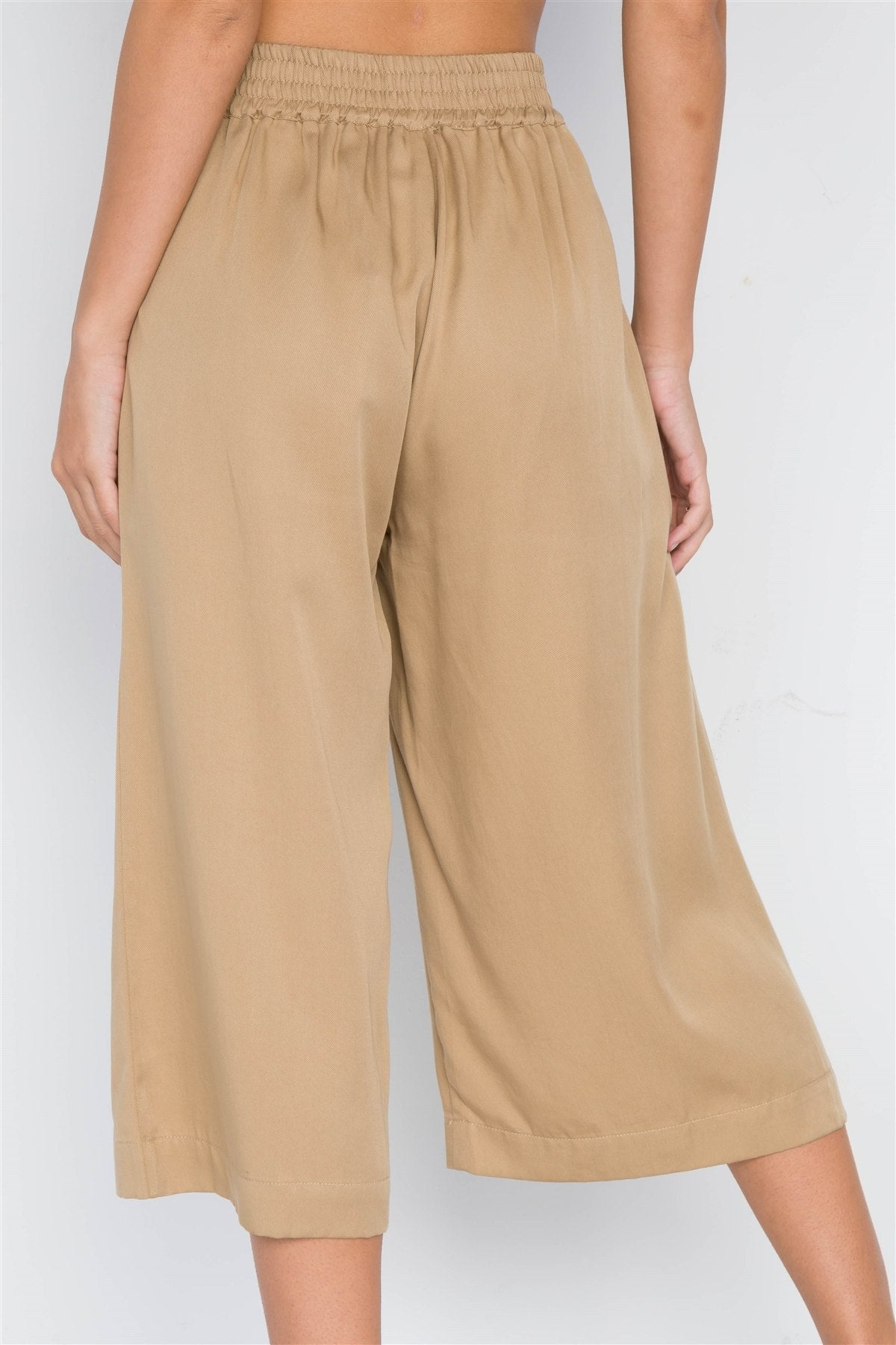 Khaki High Waist Cropped Wide Leg Pants - Miranda's Paparazzi Style
