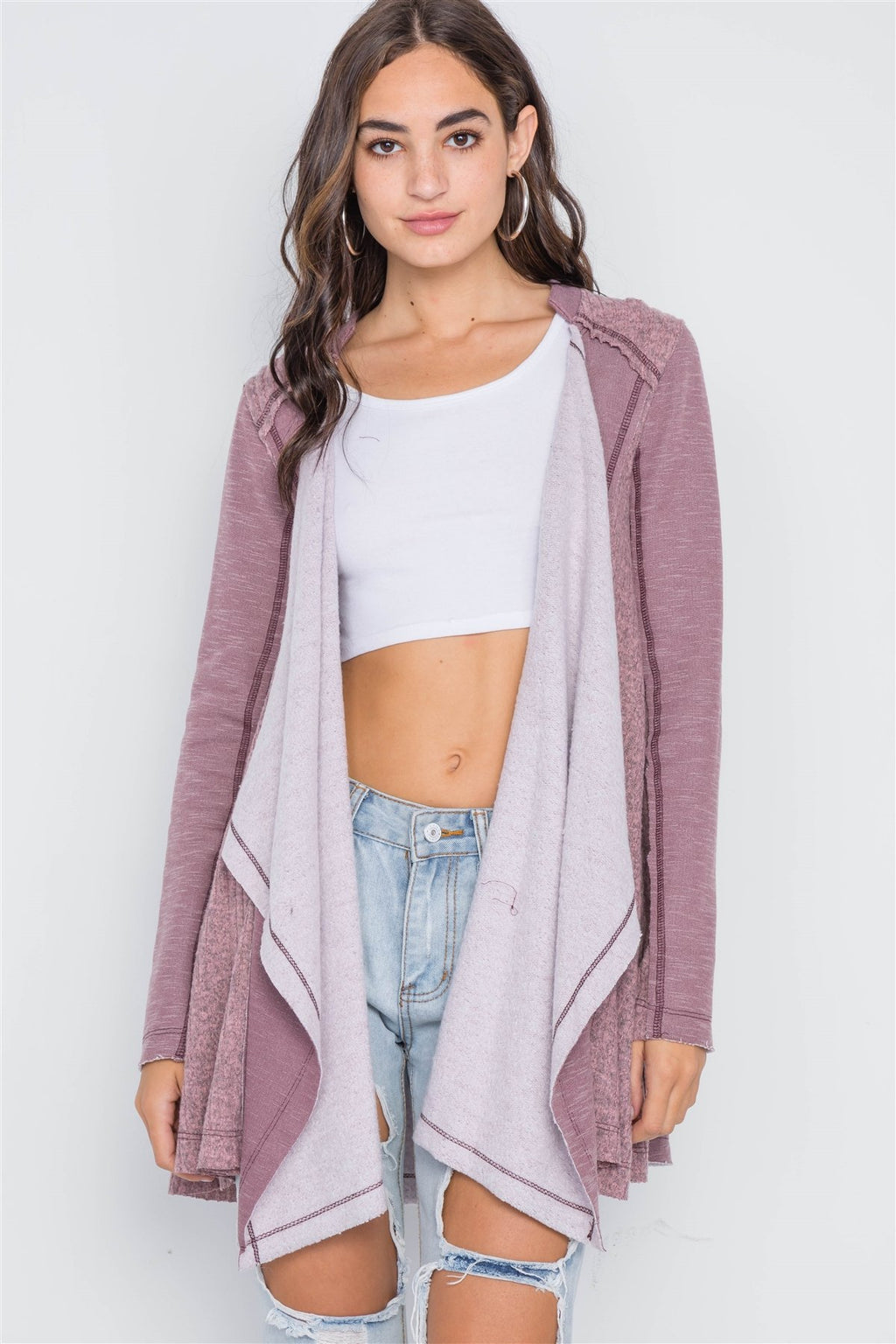 Mauve Knit Draped Front Long Sleeve Cardigan - Miranda's Paparazzi Style