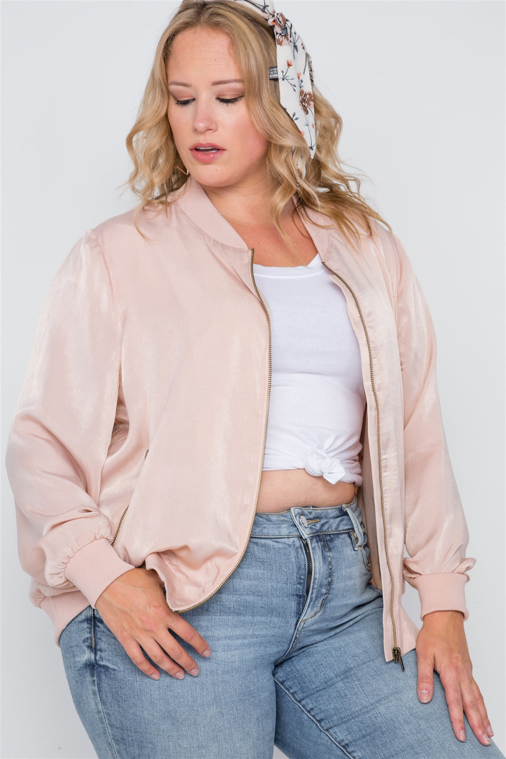 Plus Size Pink Maple Sugar Light Bomber Jacket - Miranda's Paparazzi Style