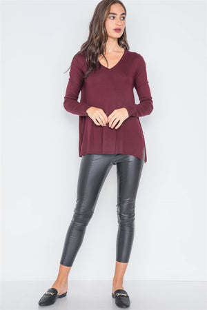 Burgundy Knit Casual V-neck Solid Sweater - Miranda's Paparazzi Style