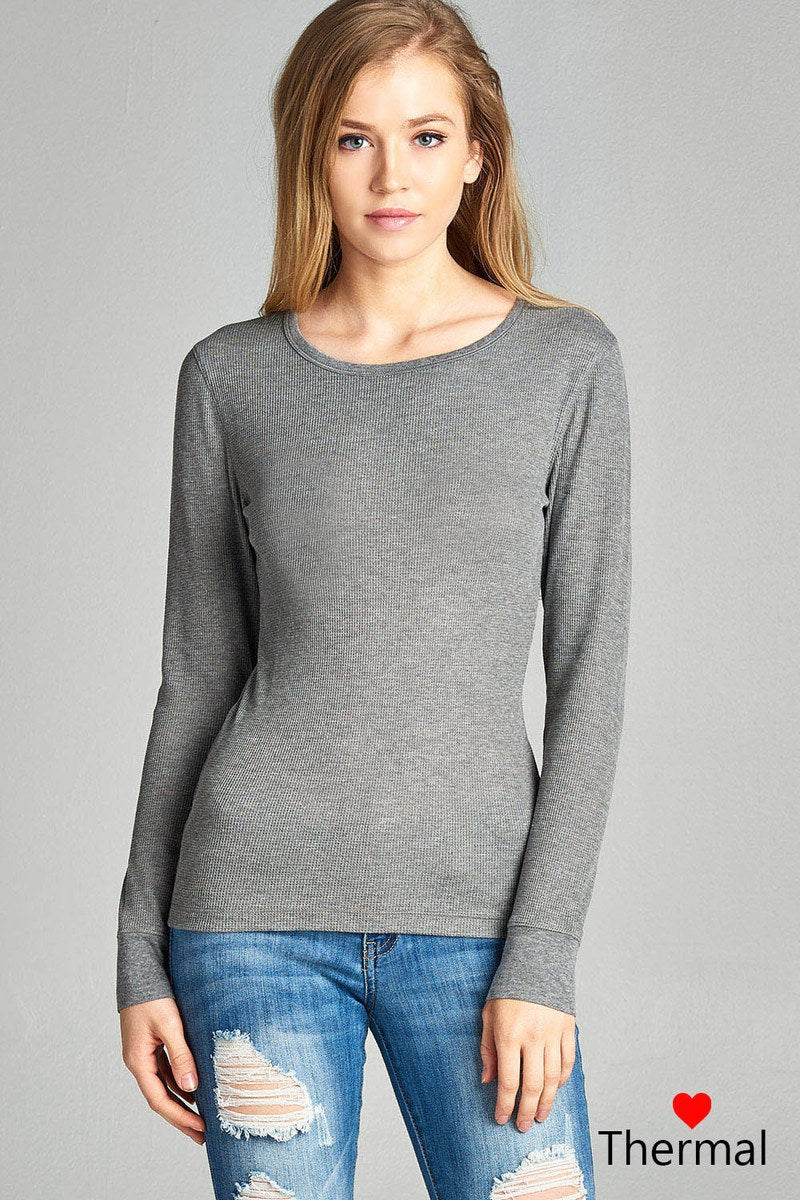 Long Sleeve Crew Neck Thermal Top - Miranda's Paparazzi Style