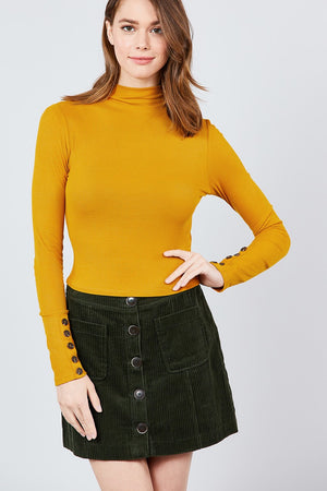 Long Sleeve W/button Detail Mock Neck Rib Knit Top