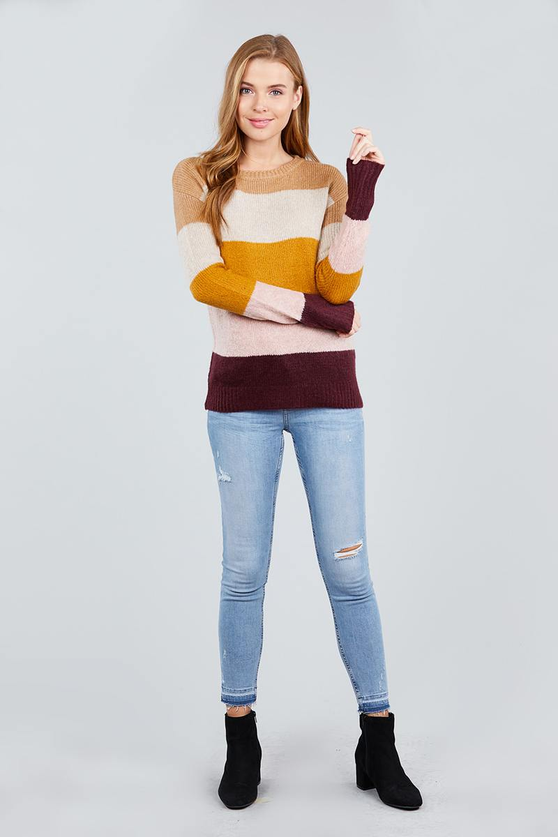 Long Sleeve Round Neck Color Block Sweater - Miranda's Paparazzi Style
