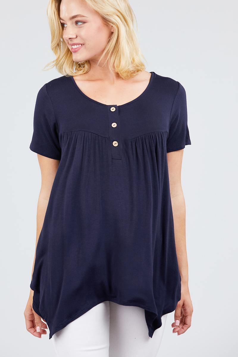 Short Sleeve Scoop Neck W/button Shirring Detail Rayon Spandex Top - Miranda's Paparazzi Style