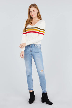 Long Sleeve V-neck Multi Stripe Crop Sweater - Miranda's Paparazzi Style