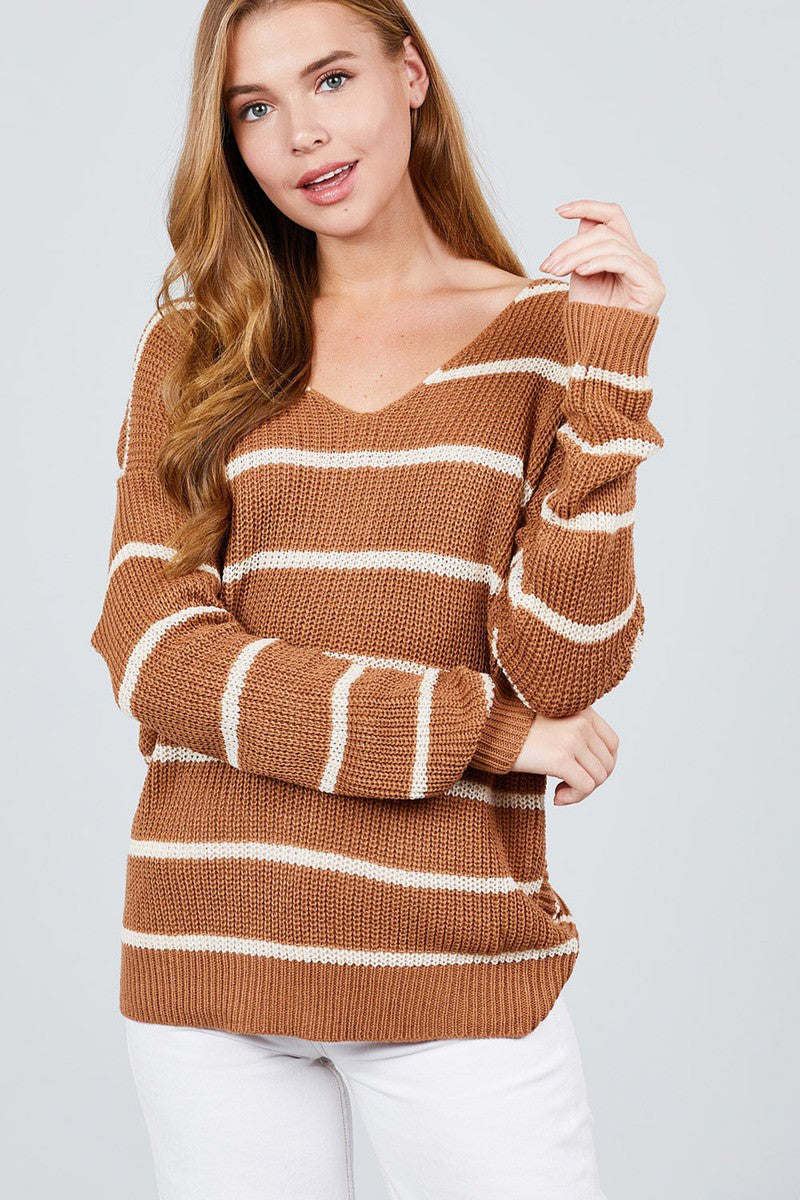 Long Sleeve V-neck Twist Back Stripe Sweater Top - Miranda's Paparazzi Style