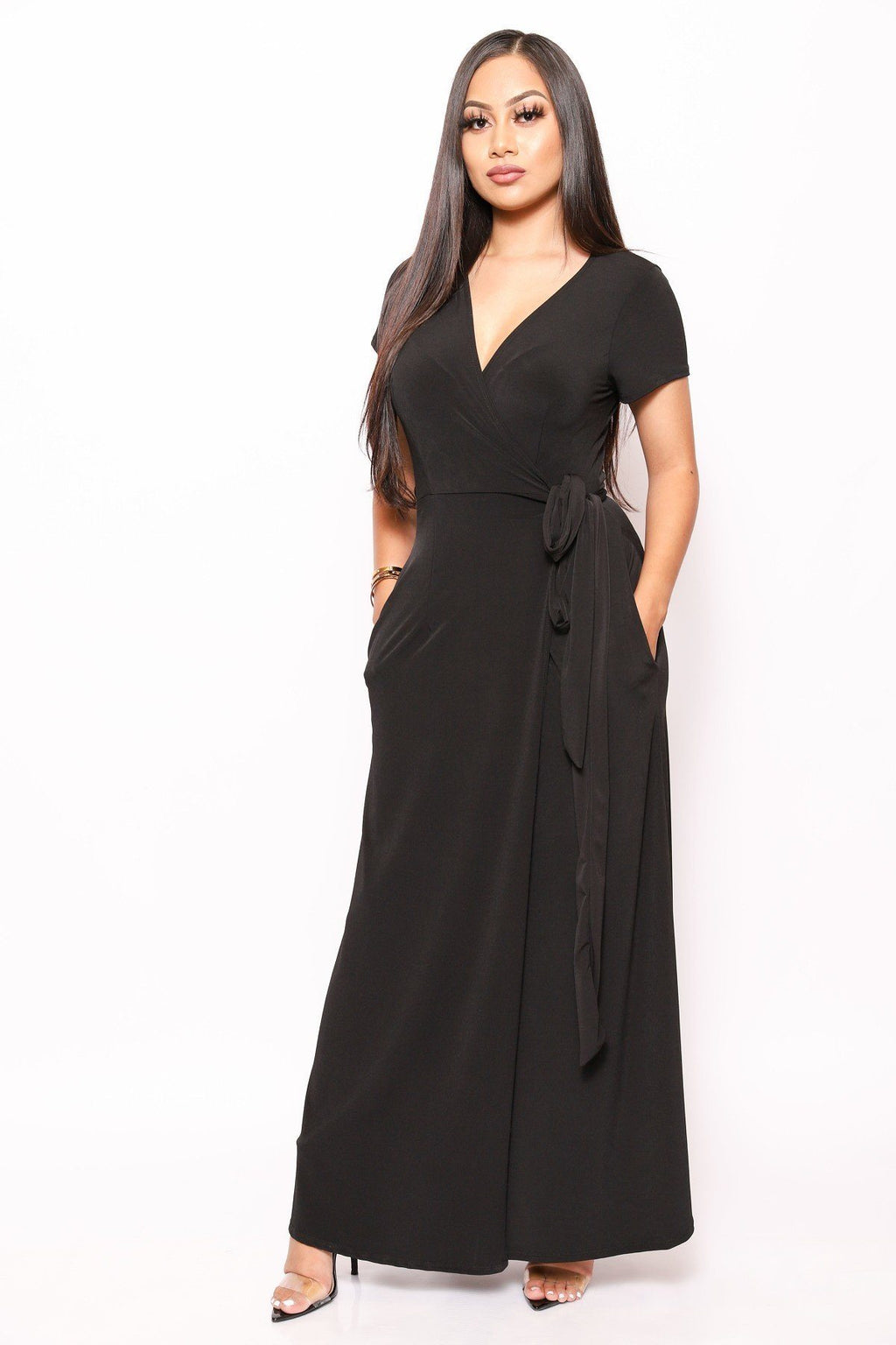 Simple, Sexy, And Chic Floor Length Wrap Dresses - Miranda's Paparazzi Style