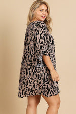 Animal Print Ruffle Split Sleeve Split Neck Dress