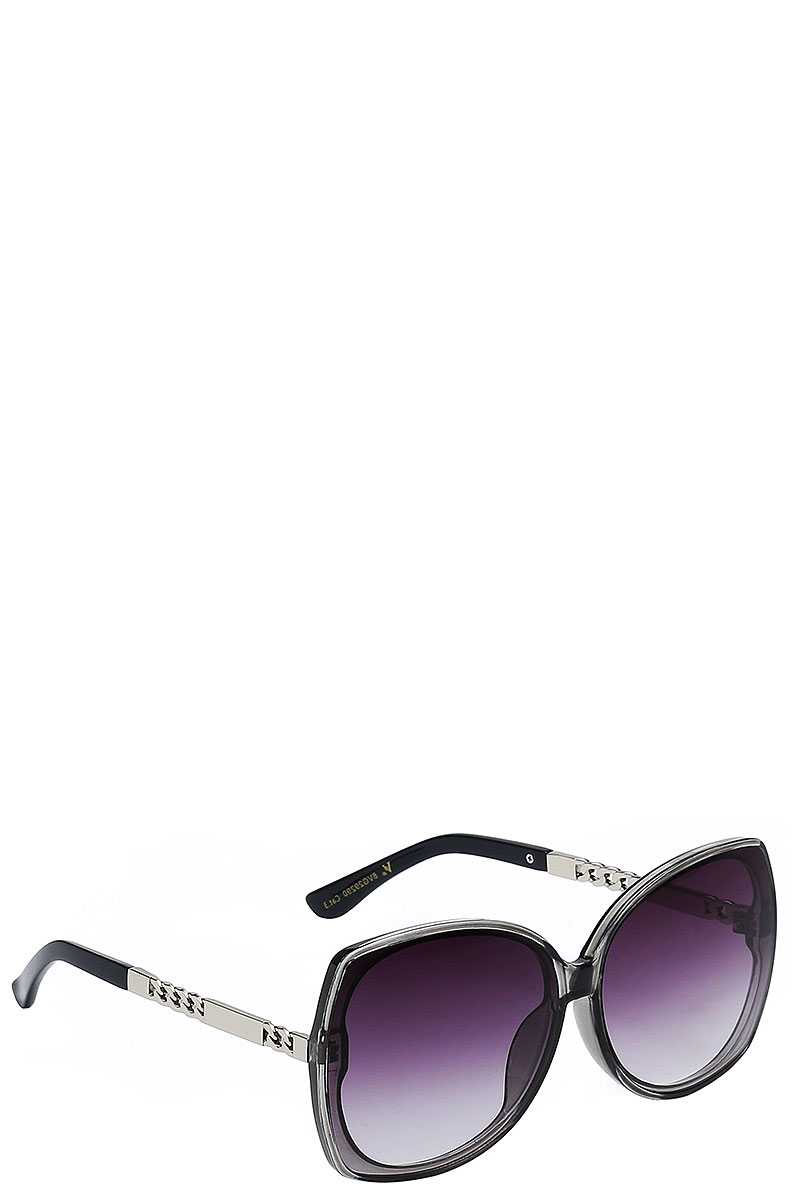 Elegant Square Hybrid Frame Accented Metallic Temple Sunglasses