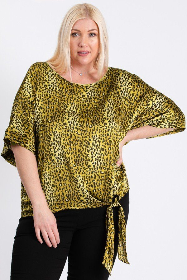 Short Sleeve Side Knot Hemline Leopard Print Woven Top