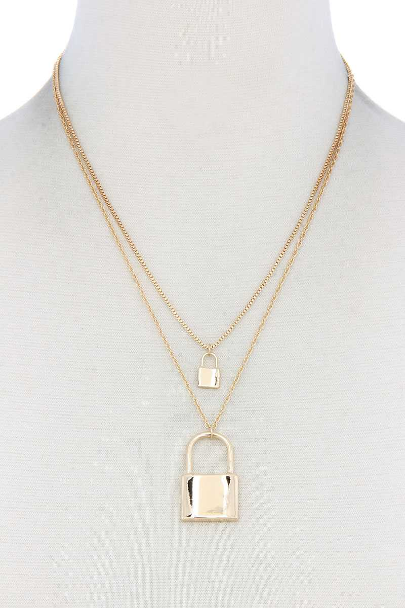 Sodajo Lock Charm Layered Necklace