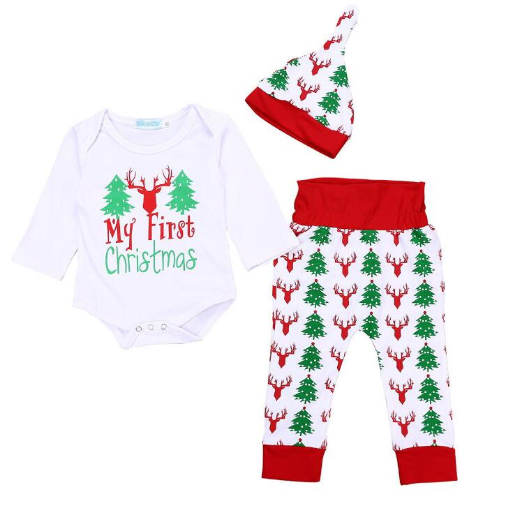 3PCs Christmas Outfits Baby Boy Girl Clothes My First Christmas Romper,Retro Deer Bear Pants+Hat&Headband Set - Miranda's Paparazzi Style