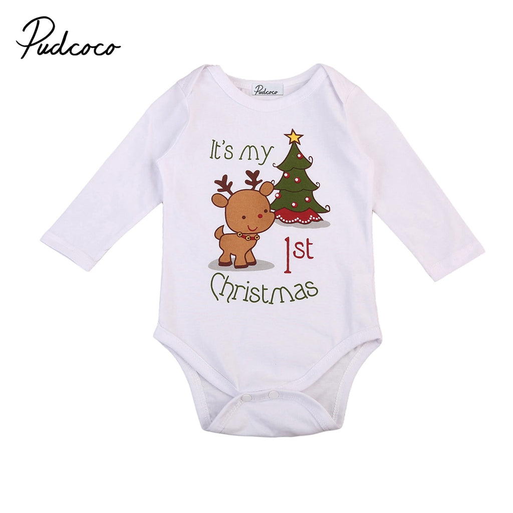 christmas baby romper newborn infant baby boys girls cartoon deer Christmas tree print long sleeves romper autumn baby clothing - Miranda's Paparazzi Style