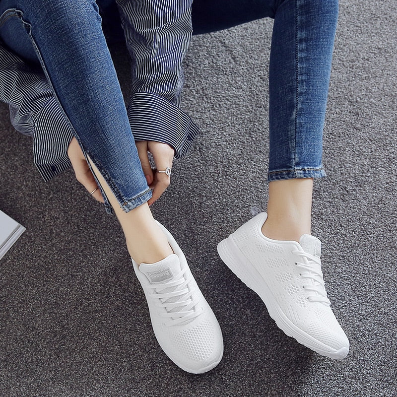 Women's Running Shoes White Woman Sneakers Air Fabric Womens Sport Shoes Women Lightweight Summer Sneakers Mesh - Miranda's Paparazzi Style