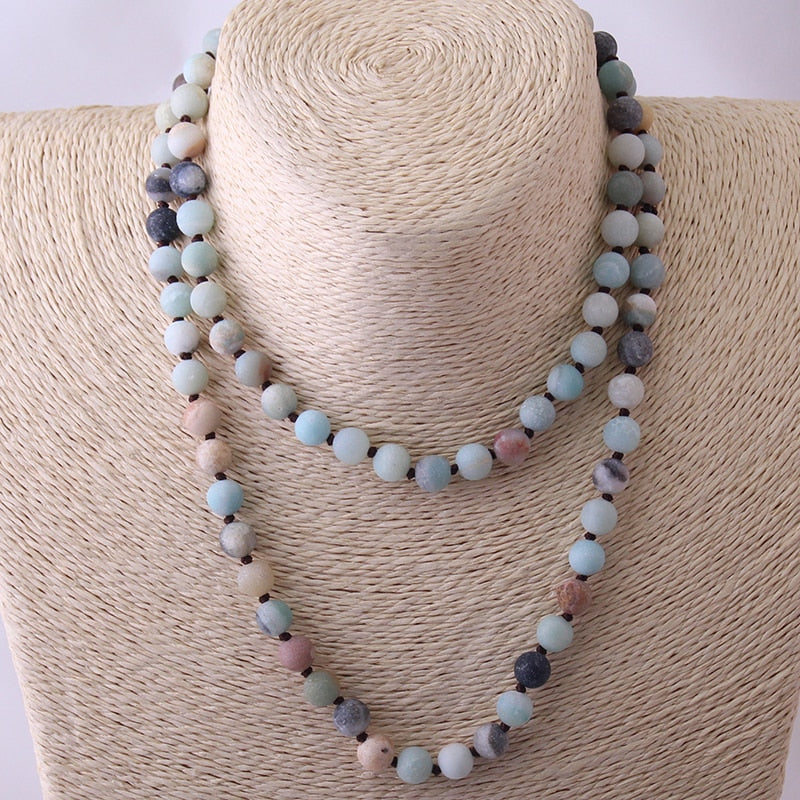 Long Knotted Beads Halsband Frosted Amazonite Stones Necklace - Miranda's Paparazzi Style