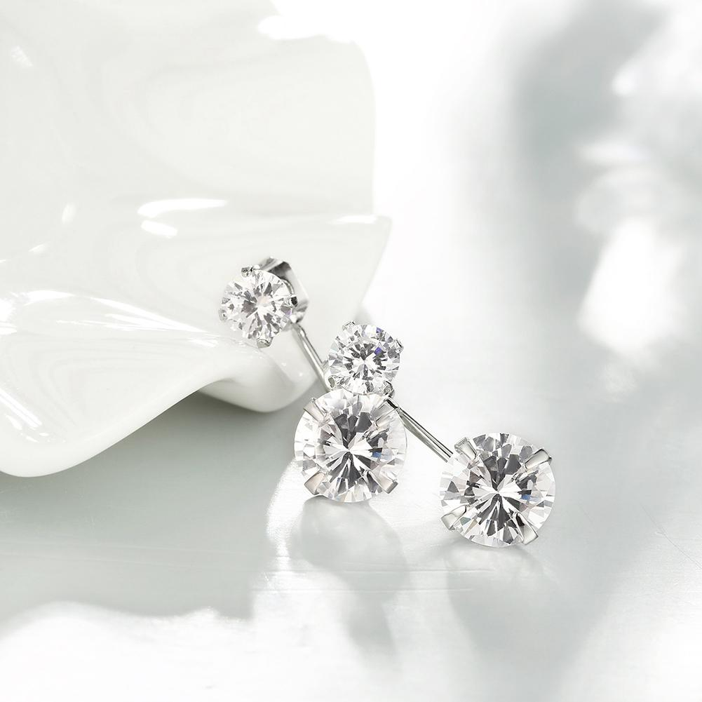 Duo Swarovski Elements Drop Earrings in 18K White
