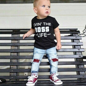 Summer Clothes For Boys Children Letter Print - Miranda's Paparazzi Style
