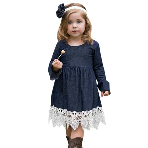 Toddler Infant Baby Girls Denim Flare Sleeve Dress - Miranda's Paparazzi Style