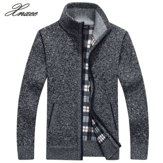 2019 Men's jacket Autumn Winter Warm Cashmere Wool Zipper jackets Pullover Man Casual Knitwear Sweaters coat Plus Size M-4XL
