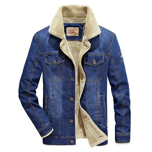 FGKKS Brand Men Denim Jacket 2019 Autumn Winter Men's Fashion Aviator Button Warm Men's Jackets Coat
