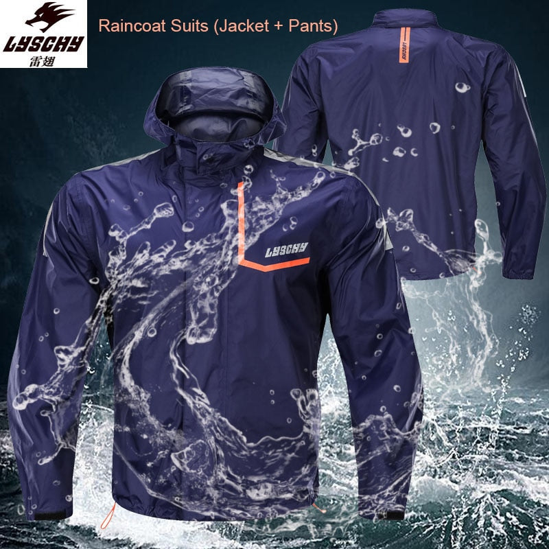 LYSCHY Fashion Motorcycle Suit Motocross Raincoat Men's Windproof Outerwear With Night Reflective Waterproof Jacket + Pants Suit