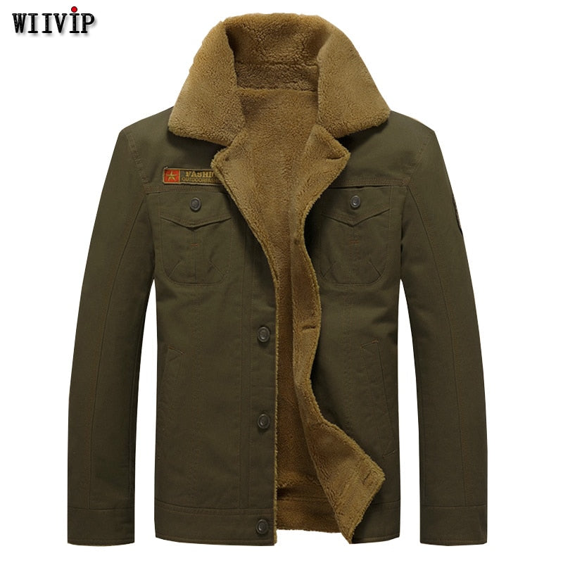 Flash Deal Men's Warm Jacket Winter Fit plush Coat Men Military Army jackets mens cotton Coat mens jacket For Lucky You YW196