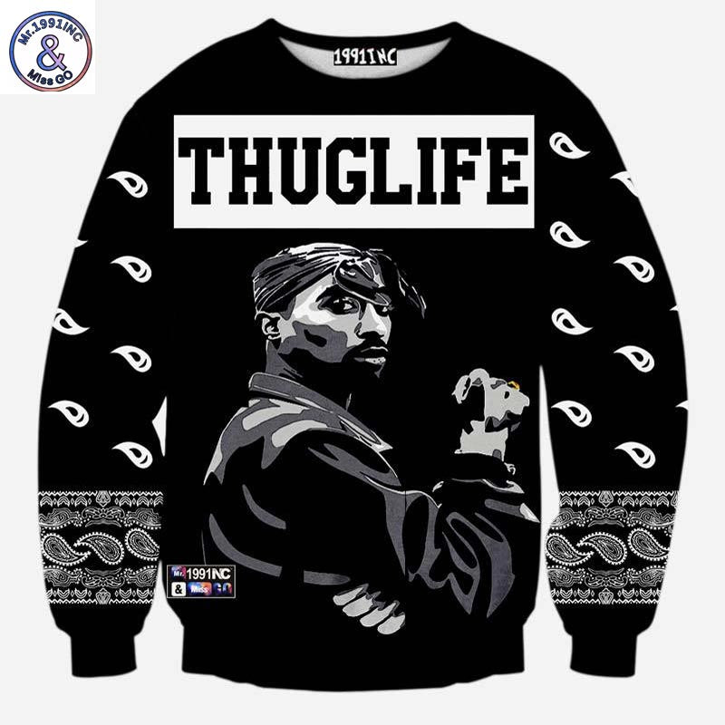 Mr.1991INC Europe And America fashion men's hip hop hoodies print Rapper 2pac Tupac 3d sweatshirt THUGLIFE hoodies - Miranda's Paparazzi Style