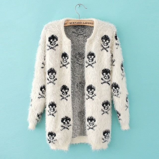autumn and winter new women's fashion street for the skull and skull of skull mohair knitted cardigan   c529