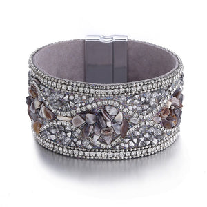 ONLY $5!!!!!  17KM Vintage Stone Beads Crystal Leather Bracelets For Women Men 3 Color Magnetic Wrap Charm Bracelet & Bangles Fashion Jewelry - Miranda's Paparazzi Style