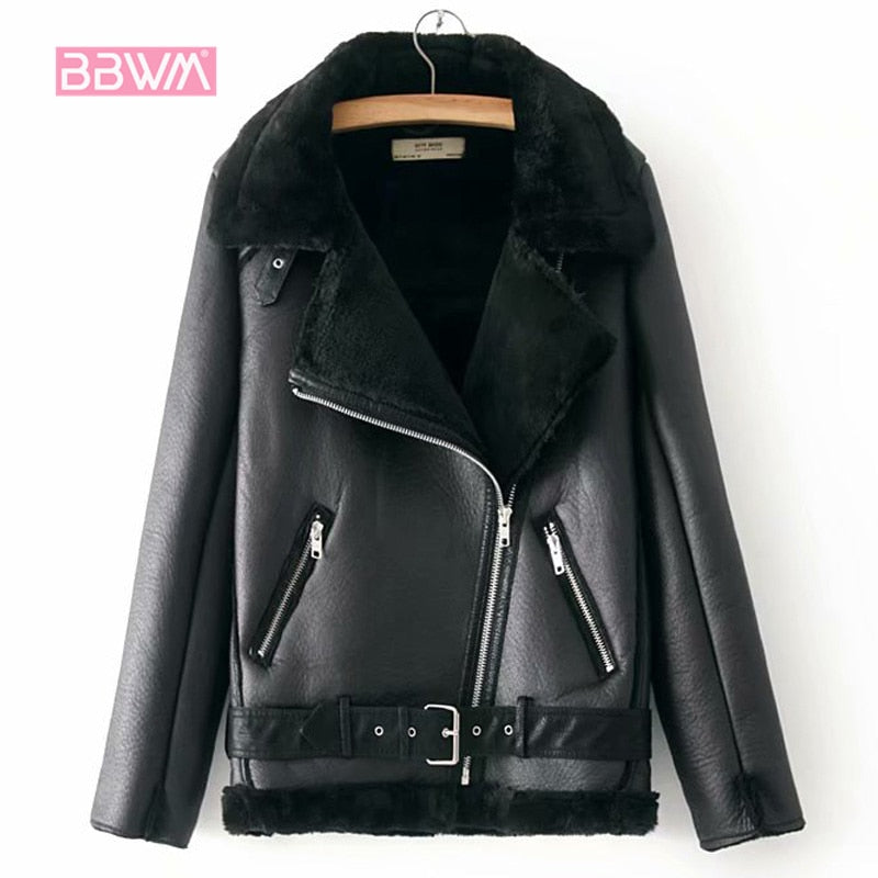 Warm women's winter motorcycle velvet jacket female short lapels fur thick Korean version plus velvet jacket 2019 bomber jacket