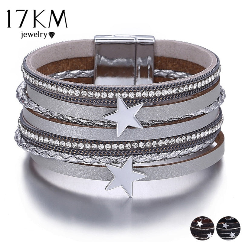 ONLY $5.74!!!  17KM 3 Color Vintage Star Leather Charms Bracelets For Women Men Multiple Layers Magnetic Wrap Bracelets New Fashion Jewelry - Miranda's Paparazzi Style