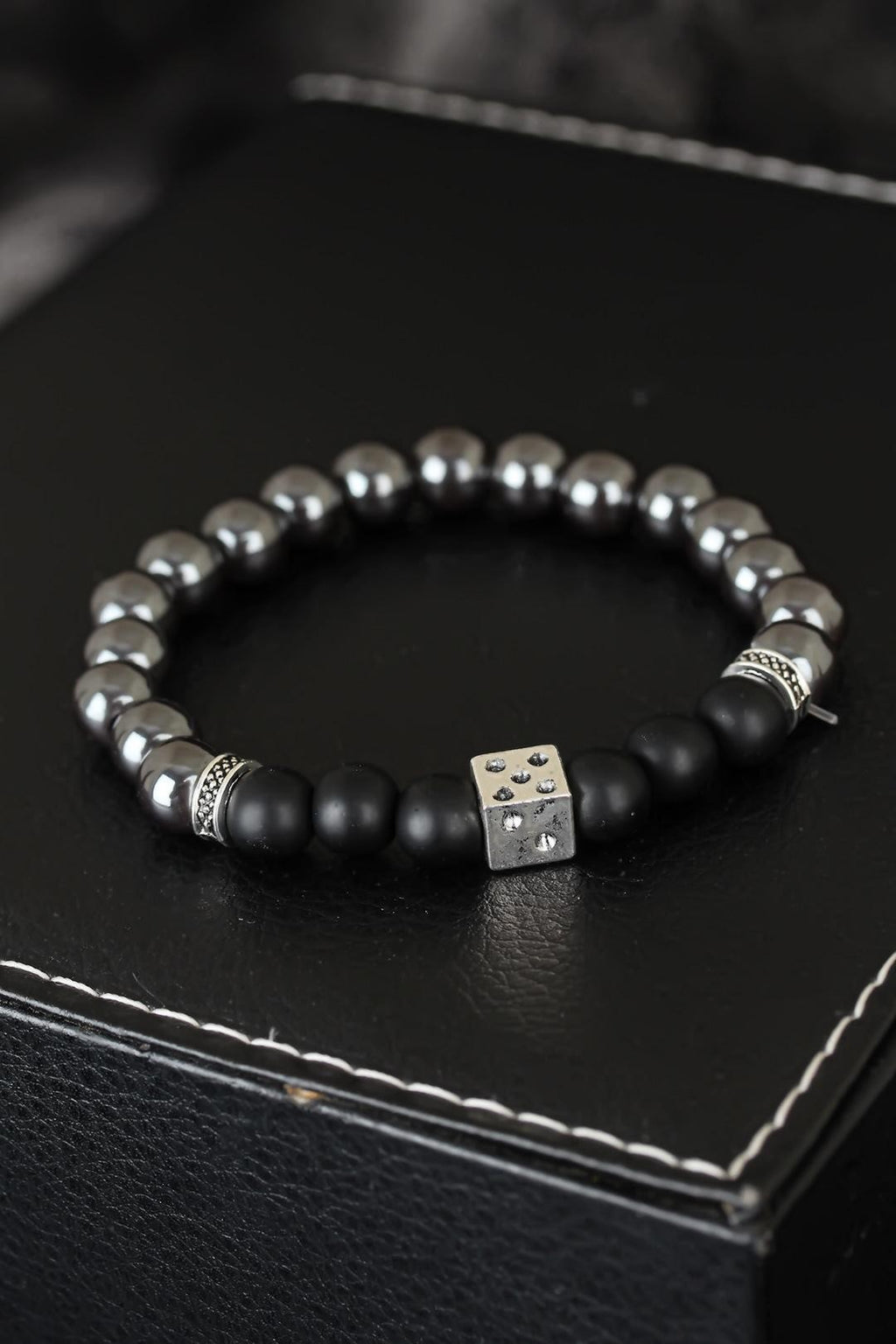 Men's Dice Accessory Haematite Natural Stone Bracelet