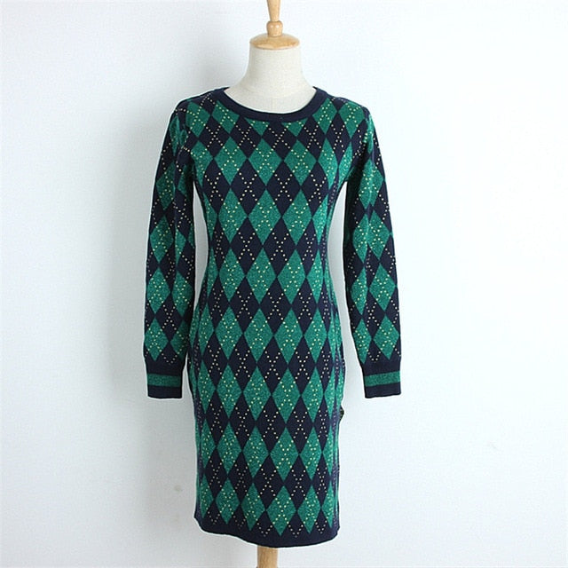 Fall Winter Sweater Dresses 2018 New Vintage Lurex Green Argyle Side Split Women's Dress Long Sleeve Europe Knitted C-223 - Miranda's Paparazzi Style