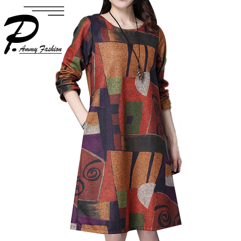 ONLY $25.00! Women's Aztec Print Crew Neck Oversized Wool Jumper Dress Thicken Warm for Fall Winter Long Sleeve pullover New arrival - Miranda's Paparazzi Style