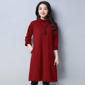 ONLY $30!  Women's Oversized Turtle Neck Long sleeve Jumper Dress 2018 Fall Autumn-Winter fashion plus size Solid Color Tunic Dress - Miranda's Paparazzi Style