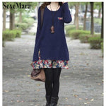 Only $20!  SexeMara 2018 New Fall Winter Medium Cute Dresses Floral Stitching Casual Women's Dress O Neck Size Long Sleeve Dress - Miranda's Paparazzi Style