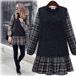 MELANASY 2018 Fall Winter Women's New Dress Round Neck Fake Two Piece Ruffles Dress Long-sleeved Plaid Stitching Mini Dresses - Miranda's Paparazzi Style