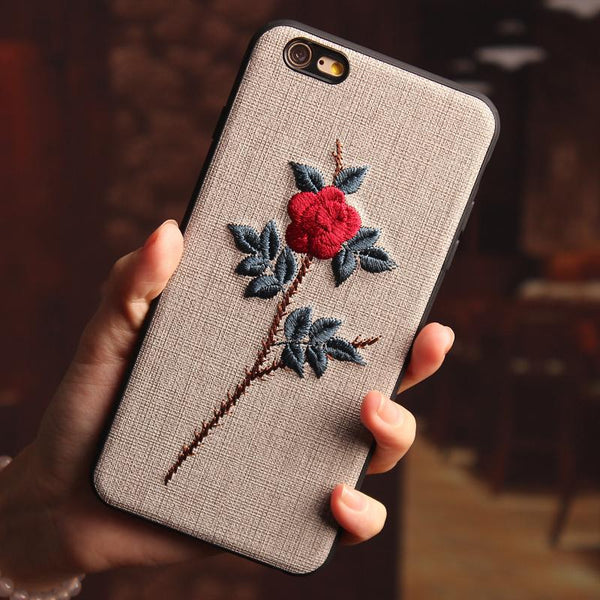 Iphone6 embroidery Flower 6s anti-Fall 8 7plus cover - Here2U