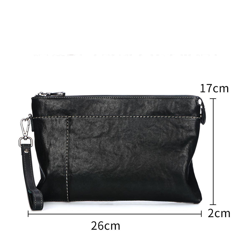 Envelope soft leather feels soft and comfortable tide leather clip bag