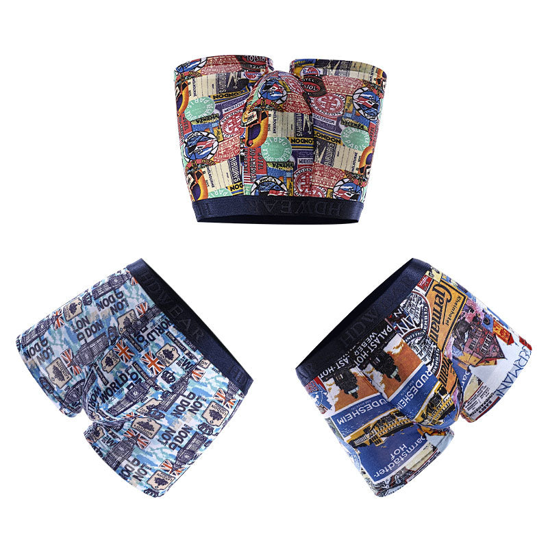 Men's Hit color U convex  fashion youth printed boxer