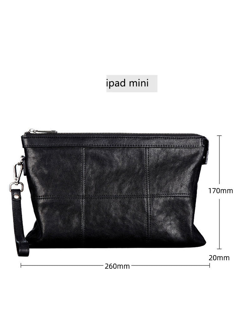 Men's leather business large-capacity clutch bag