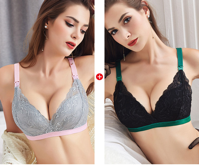 Women lace design breastfeeding anti-sag gathering bra set (section 2)